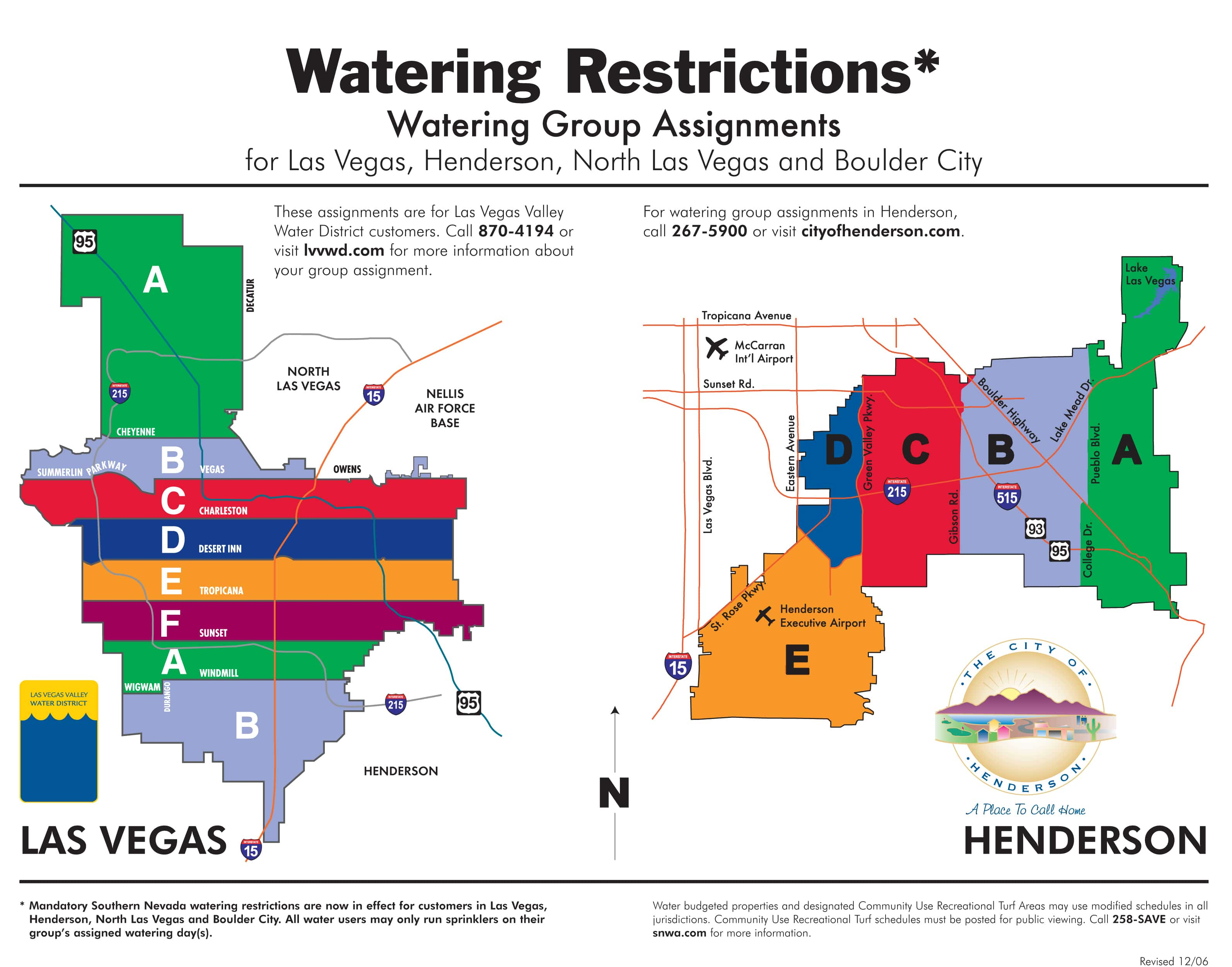 Maps of all SNWA agency drought watering groups.